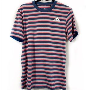 Adidas tennis climalite striped tee top small blue